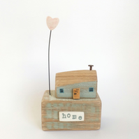 SALE - Little wooden house with a clay love heart