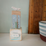 SALE - Little wooden house with clay bird on a vintage toy block