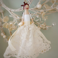 Handmade peg doll fairy decoration