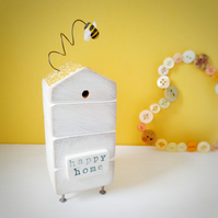 Wooden Beehive With Little Clay Bee 'Happy Home'