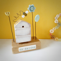Wooden Beehive With Little Clay Bee and Flower Garden 'My Garden'