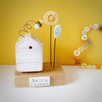 Wooden Beehive With Little Clay Bee and Flower Garden 'Hello Flower'