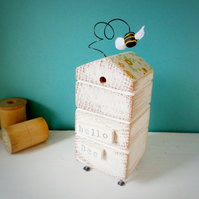 Wooden Beehive With Little Clay Bee 'Hello Bee'
