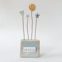 Clay and Button Flower Garden in a Wood Block 'garden'