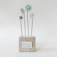 Clay and Button Flower Garden in a Wood Block 'plant seeds'