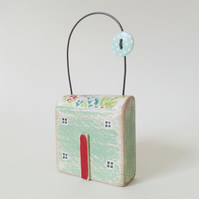 Painted Wooden Floral Hanging House