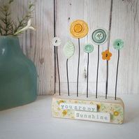 Clay and Button Flower Garden in a Wood Block 'You are my Sunshine'