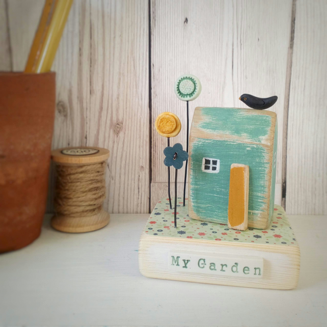 Garden Shed with Flowers and Blackbird 'My Garden'