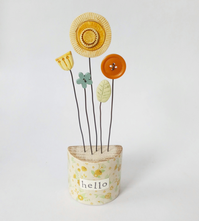 SALE - Clay and Button Flowers in a Floral Wooden Block 'hello'