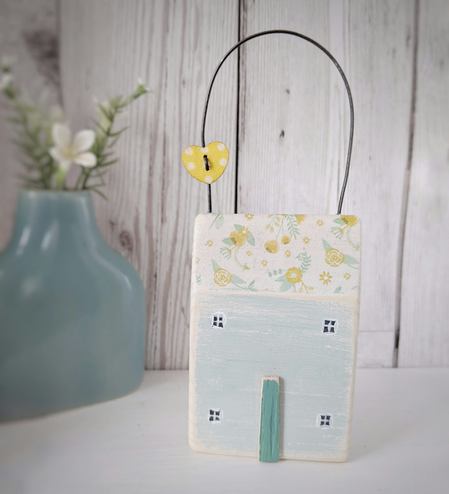 Painted Wooden Floral Hanging House with  Heart Button
