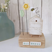 Wooden Beehive With Clay Flower Garden and Bee 'Bee Happy'