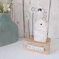 Wooden Beehive With Clay Flower Garden and Bee 'My Garden'