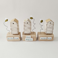 Wooden Beehive With Little Clay Bee