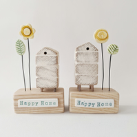 Wooden Beehive With Clay Flower Garden 'Happy Home'