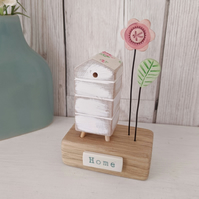 Wooden Beehive With Clay Flower Garden 'Home'