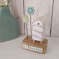 Wooden Beehive With Clay Flower Garden 'My Garden'