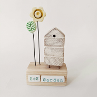 "Wooden Beehive With Clay Flower Garden ""Bee Garden'"