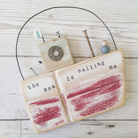 Large Rustic Wooden Boat Hanging 'the sea is calling me'