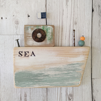 Large Rustic Wooden Boat Hanging 'SEA'