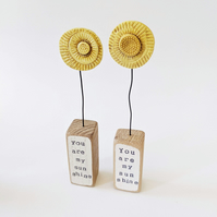 Clay Sun in an Oak Wood Block 'you are my sunshine'