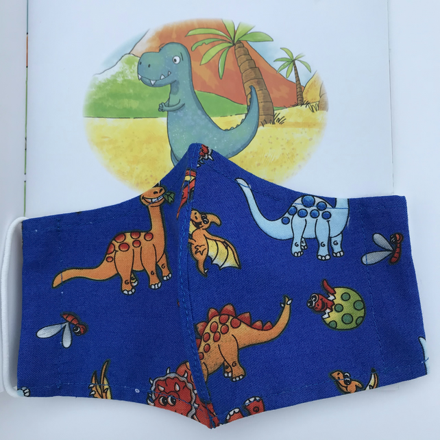 Reusable Children's Face Mask Dinosaur Design