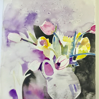 Watercolour painting of still life vase of tulips and daffodils