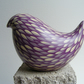 Cream and lilac hand painted bird (E)