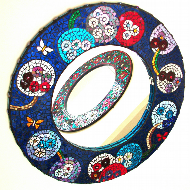 Stained Glass Round Mosaic Mirror