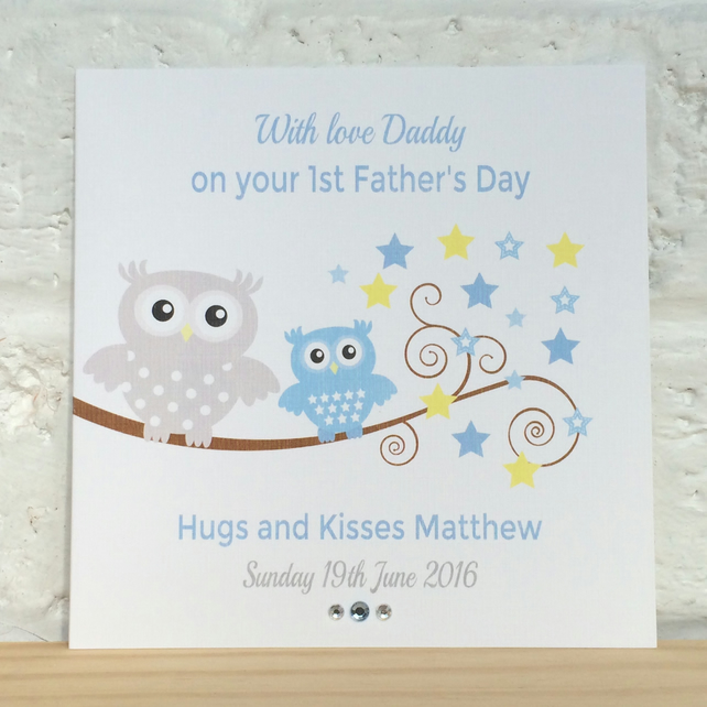personalised blue owl 1st father s day card lb folksy