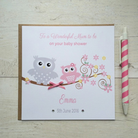 Personalised Pink Baby Shower Card with Owls (LB032)