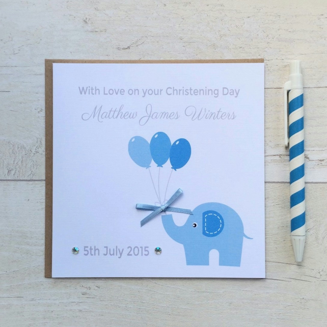 Personalised Christening Card in blue (LB034)
