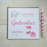 Personalised Will you be my Godparents, Godmother, Godfather Card in Pink - LB35