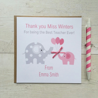 Personalised Teacher, Nursery Thank you Card in Pink or Blue (LB040)