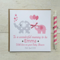 Personalised Pink Baby Shower Card with Elephants (LB041)