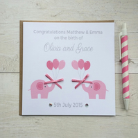 Personalised New Baby Twins Card (LB038)