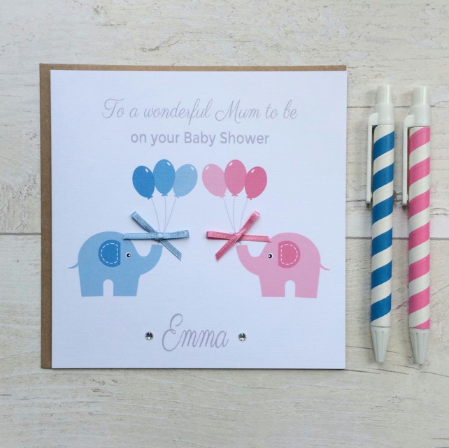 Personalised Baby Shower Card with Elephants (LB047)