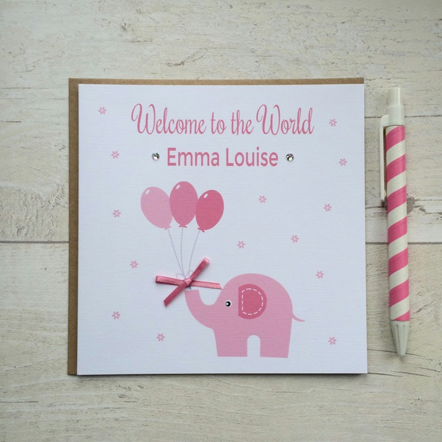 Personalised Pink Elephant New Baby Girl Card (LB039)