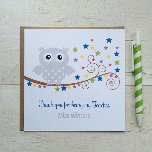Personalised Owl Teacher, Nursery Thank you Card (LB050)
