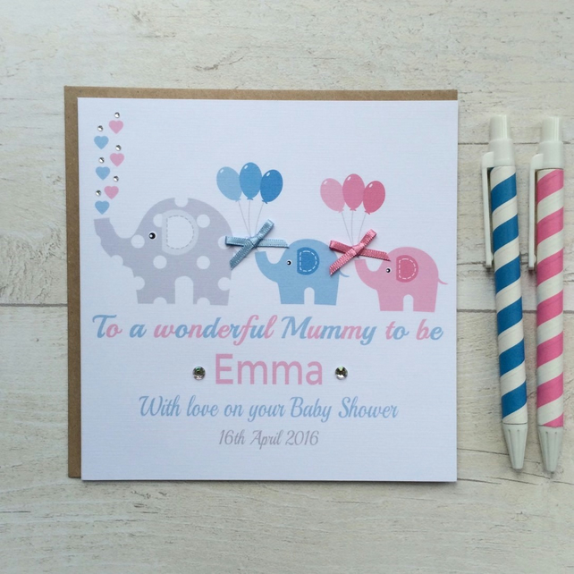 Personalised Elephant Baby Shower Card (LB051)