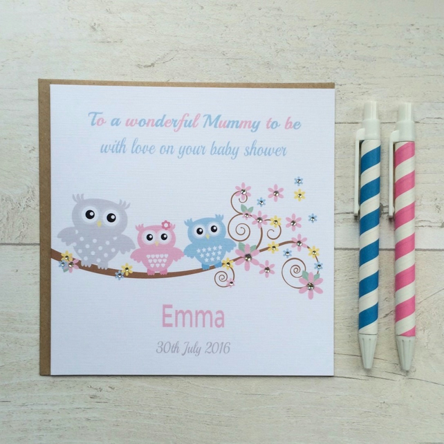 Personalised Owl Baby Shower Card (LB052)