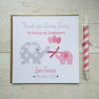 Personalised Thank you for being my Godparent Godmother Godfather  Card (LB055)