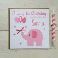 Personalised Pink Elephant Birthday Card (LB060)