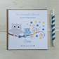 Personalised Blue Baby Shower Card with Owls (LB062)