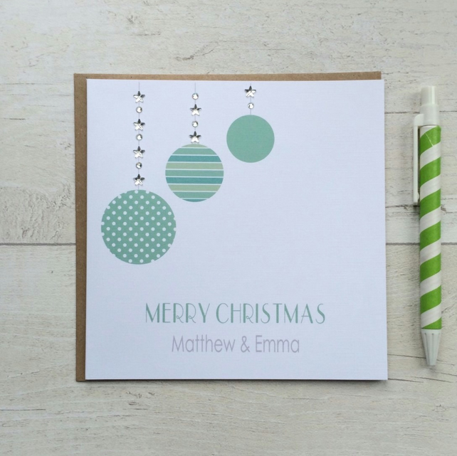 Personalised Christmas Card featuring Christmas Baubles  (LB049)