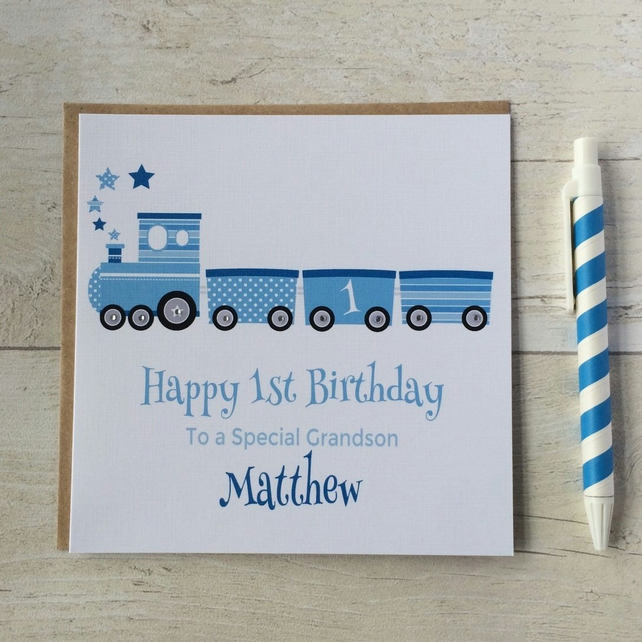 Personalised Train Birthday Card (LB065)