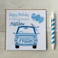 Personalised Blue Car Birthday Card (LB067)