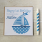 Personalised Blue Boat Birthday Card (LB068)