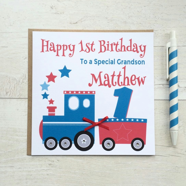 Personalised Red White and Blue Train Birthday Card (LB069)