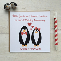 Personalised You're my Penguin Anniversary Card (LB020)
