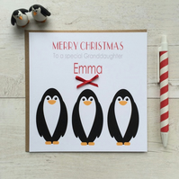 Personalised Penguin Christmas Card (LB021)
